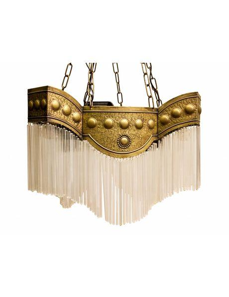 Hanglamp Art Deco, koper armatuur met langwerpige glazen kralen, ca 1920