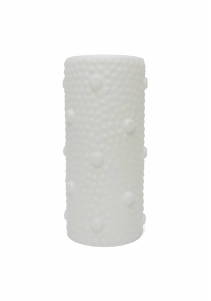 Glass Lampshade, White Cylinder with Studs