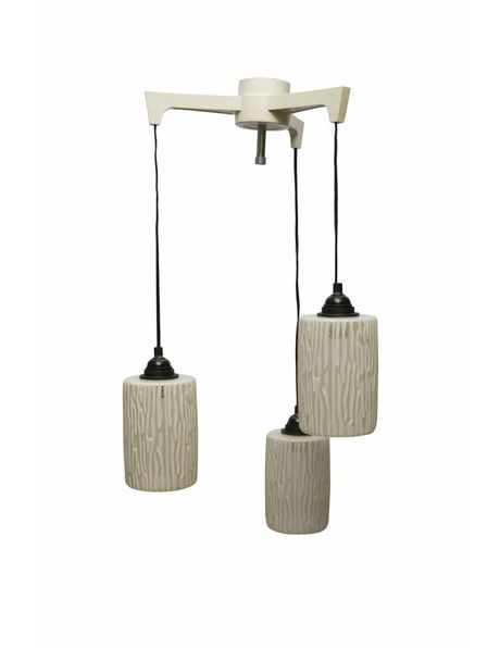 Retro hanging lamp, 1950s, cascade with three glass shades