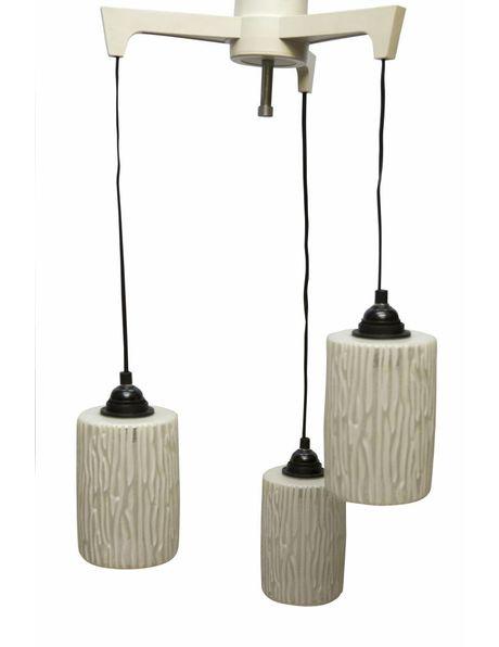Retro hanglamp, ca. 1950, cascade met drie glazen kapjes