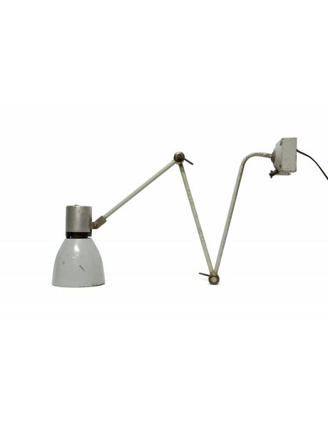 Tafellampen, bureaulamp grijs metaal, om in tafel te schroeven, ca. 1940