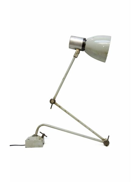Table lamps, desk lamp, grey metal, for screwing into the table, 1940s