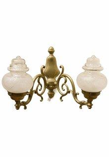 Antieke Wandlamp met Dubbele Glazen Kap
