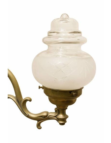 Wall lamp from the 1920s, bronze fixture with double glass shades