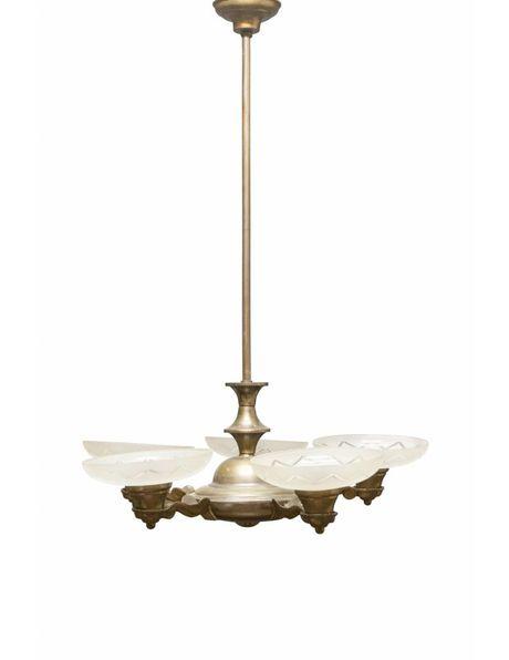 Art Deco hanglamp, koper met geslepen glas, ca. 1930