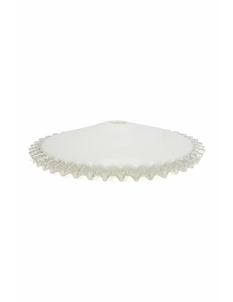 Antique glass lampshade, white, with clear whirl, 1940s