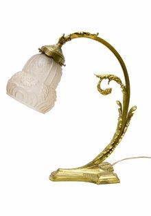 Antieke Bureaulamp, Rose Glazen Kapje