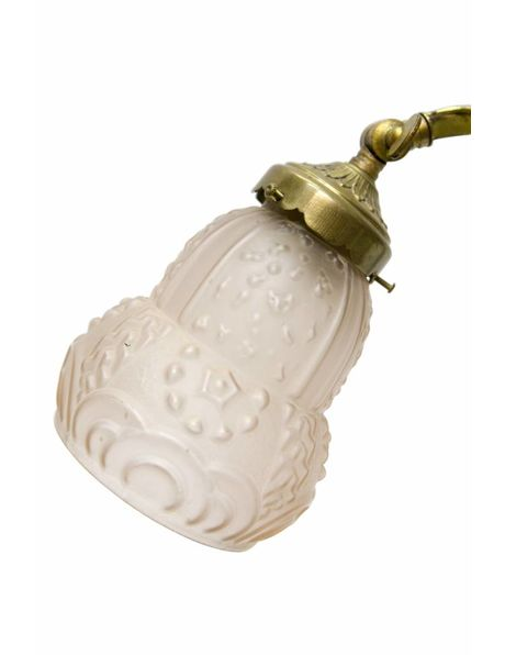 Bureaulamp, jaren 30 verlichting, geel koper met roze glazen kapje, ca. 1930