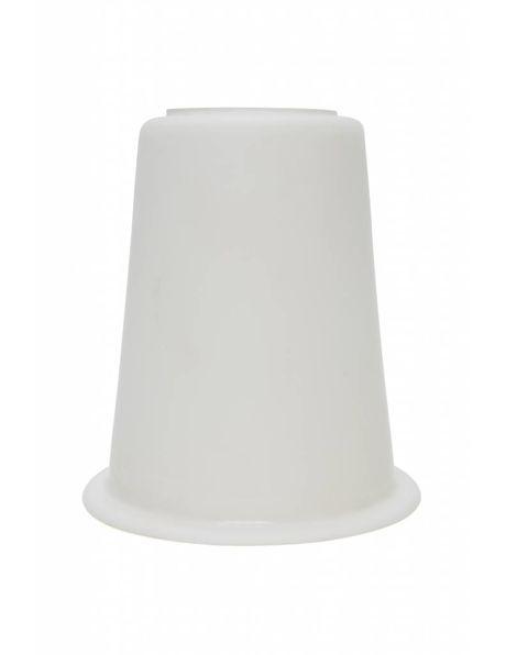 Glazen lampenkap, wit, ca. 1940, aparte vorm