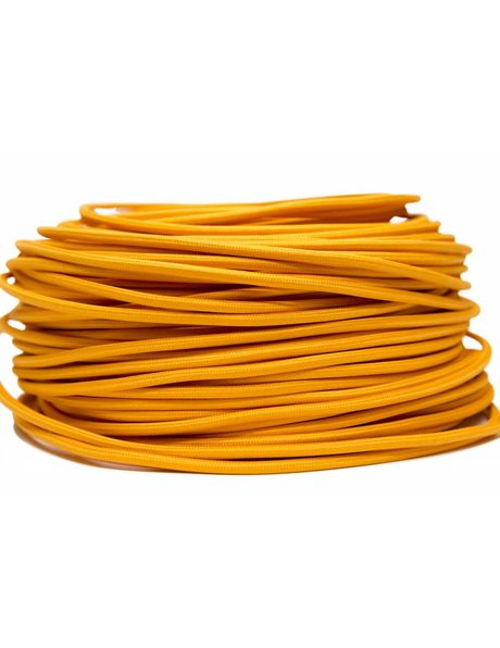 Orange electrical cord, with textile cover, round shape, 2 core