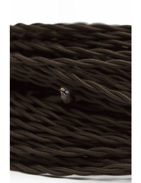 Lamp Electricity Cord, 2 Core, Braided, Brown Textile