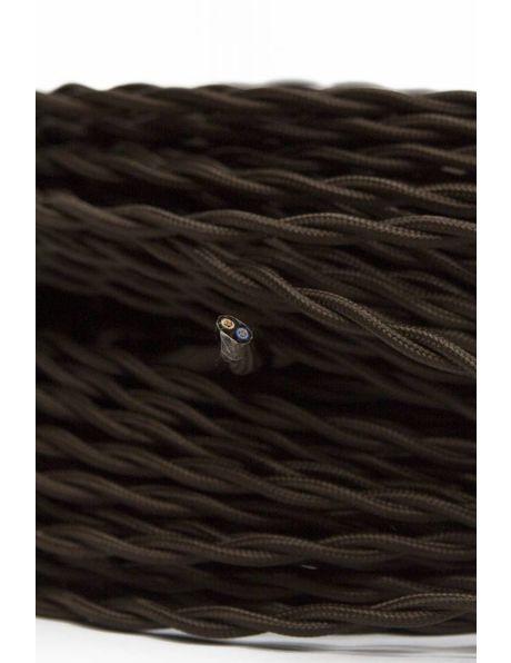 Lamp Snoer, 2-draads gevlochten stoffen snoer, bruin