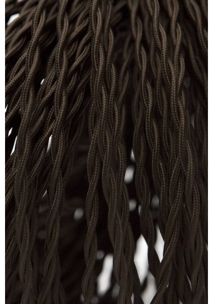 Lamp Wire, Textile Covered, Beautifully Braided, 2-Core, Brown