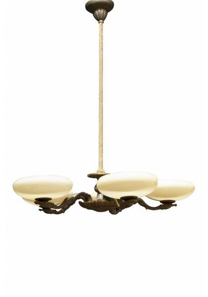 Brocante Hanglamp, 5 Kapjes aan Koper Armatuur