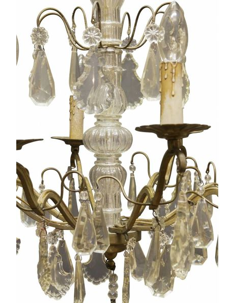 Antique chandelier, brass fixture with crystal glass, 1910s