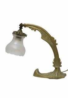 Antique Desk Lamp, Cut Glass Shade