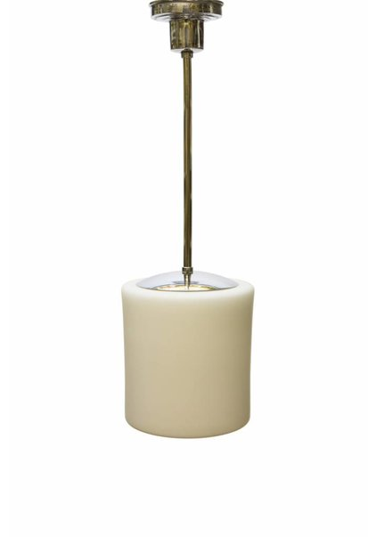 Pendel Hanglamp, Chroom met Wit Glazen Kap