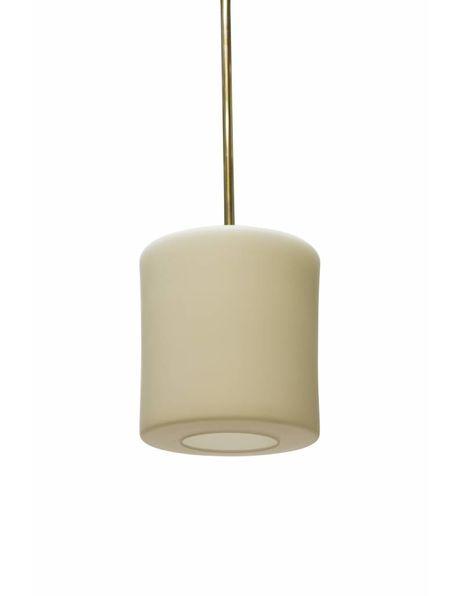 Hanglamp pendel, zilverkleurige stang met wit glazen kap, ca. 1950