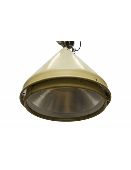Large industrial pendant lamp with glass, 1950s