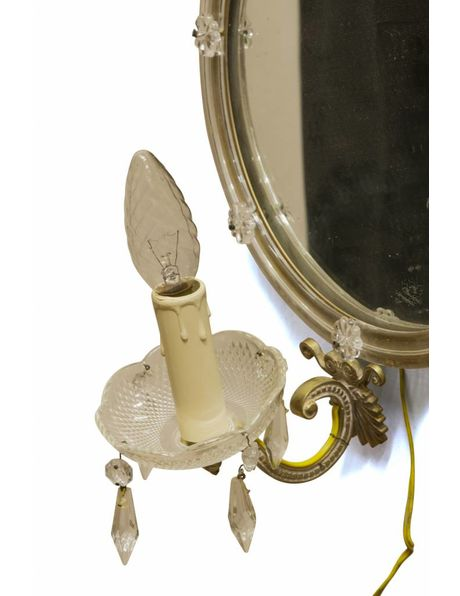 Brocante wall lamp, crown candle with round mirror, 1940s