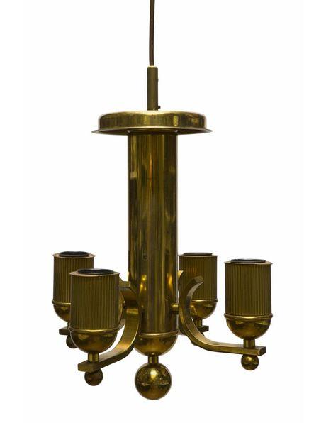 Koperen kroonluchter, vierkant klein model, is elektrisch, ca. 1950