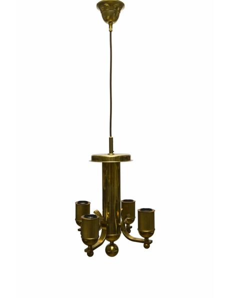 Copper chandelier, square small model, electric, 1950s