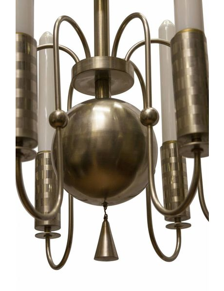Chandelier from the 70s, chrome with white glass, sleek design