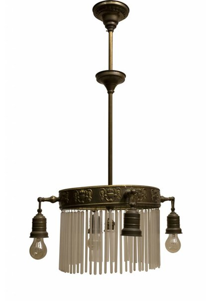 Antique Pendant Lamp, Round Copper Frame with Glass Beads, 1910s