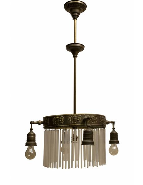 Antique hanging lamp, beautifully crafted copper fixture, long glass beads and 4 separate light points, 1910s