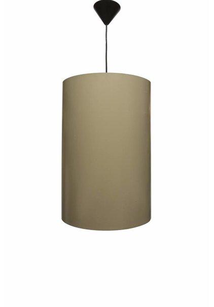 Large Pendant Lamp, Round Metal Cylinder, 1950s