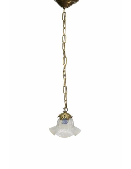 Hanglamp, klein rokkapje, parelmoer glas, ca. 1940