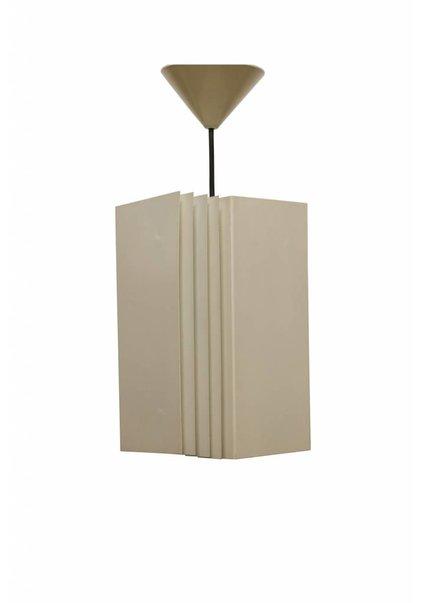 Stoere IJzeren Hanglamp, Creme kleurig, Jaren 50