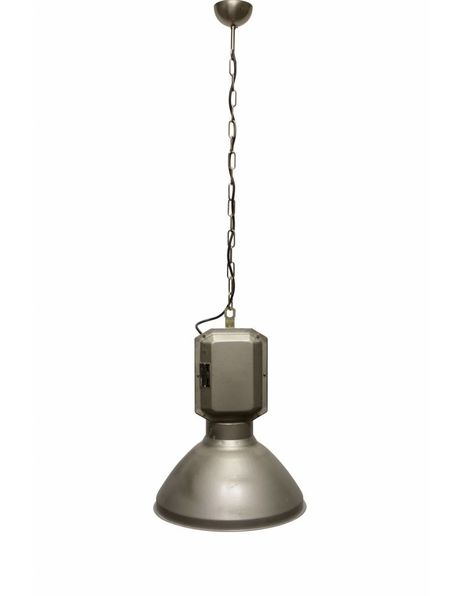 Grote Hanglamp, Industrie, Glas, Metaal, Emaille, Porselein