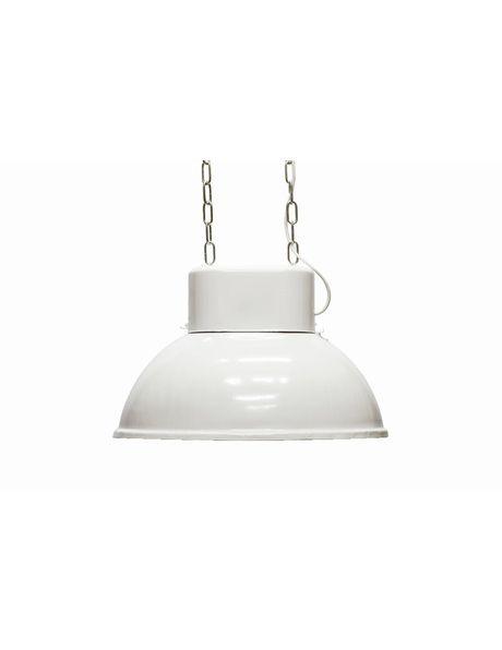 Oval industrial hanging lamp, Mesko, 1970s, white metal