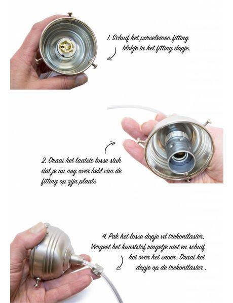 DIY lamp, complete set in chroom voor het zelf maken van hanglampje