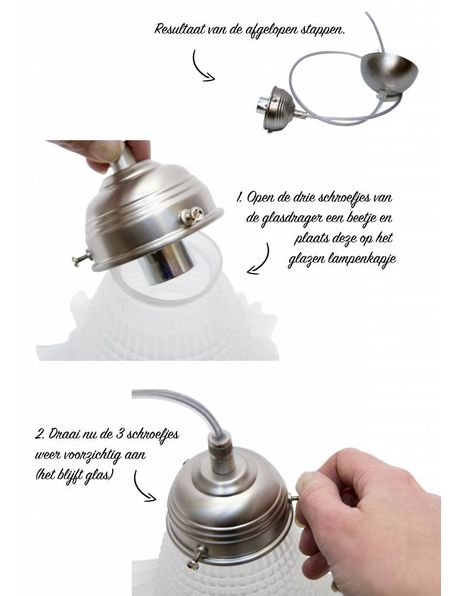 DIY Lamp, complete set, chrome coloured, for making your own suspension lamp