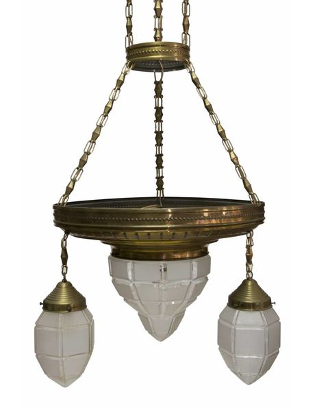 Large copper pendant lamp with faceted glass shades, 1930s
