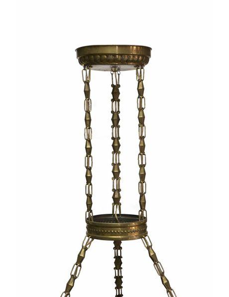 Grote hanglamp van koper met facet glazen kappen, ca. 1930