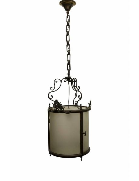 Antique Lantern, copper fixture completely closed with frosted glass, 1910s