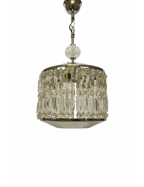 Design hanging lamp made of elongated glass beads in chrome, 50s