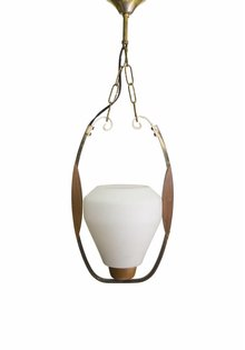Vintage Hanglamp, Glas in Hout