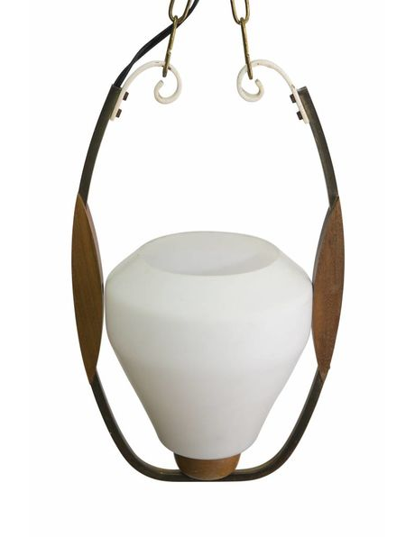 Wooden hanging lamp, glass chalice in wooden ring, 1950s