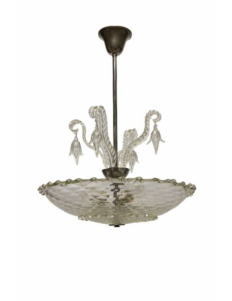 Glass hanging lamp, clear bowl with beads on fixture, 1940s