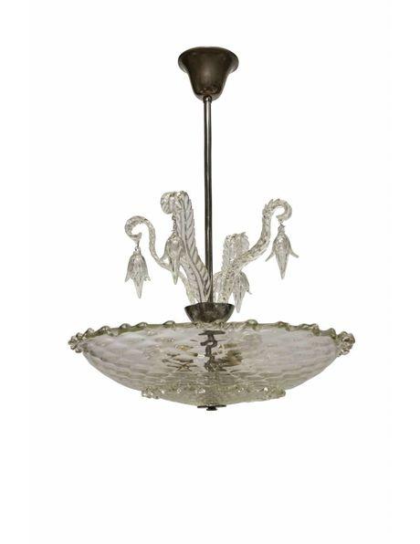 Glazen Hanglamp, heldere schaal met kralen aan armatuur, ca. 1940