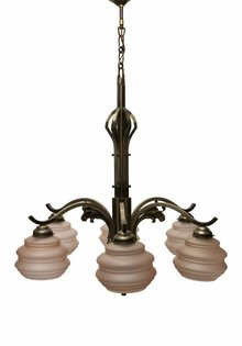 Large Pendant Lamp, 6-arm Fixture, Pink Glass