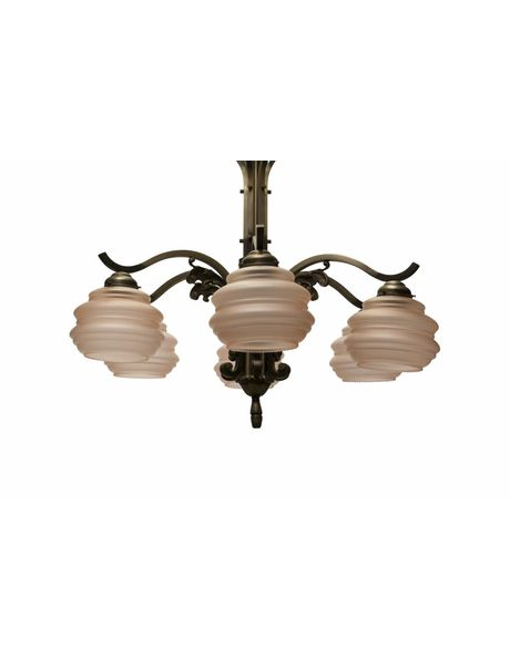 Large hanging lamp, 6 metal arms with pink glass shades, 1940s