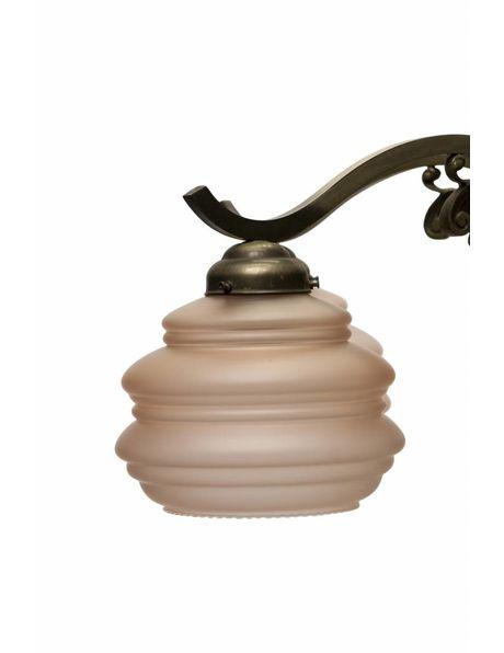 Grote Hanglamp, 6 metalen armen met roze glazen kapjes, ca. 1940