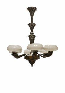 Art Deco Pendant Lamp made of Wood / Glass, 1930s