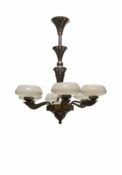 Art Deco Hanglamp van Hout/Glas, Jaren 30