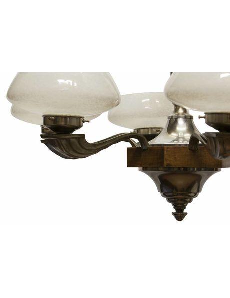 Art Deco Hanglamp, hout armatuur met glazen kapjes, ca. 1930
